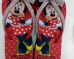 Chinelo Minnie laço e tira de strass
