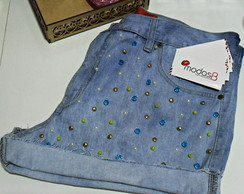 Short Jeans Bordado Customizado