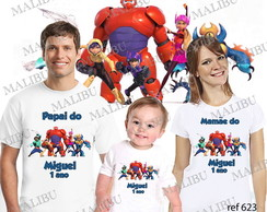 Camiseta Big Hero Personalizada kit c/3