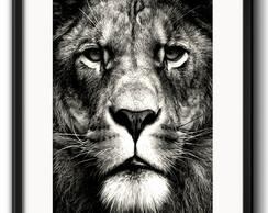 quadro leão preto e branco elo7