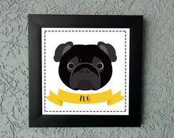 Quadrinho Decorativo Pug Preto