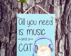 Placa Music and Cat 15x20