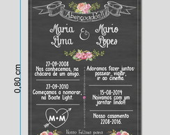 Placa Tipo Chalkboard Detalhes Floral