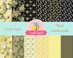 Kit Papel Digital Floral amarelo e preto