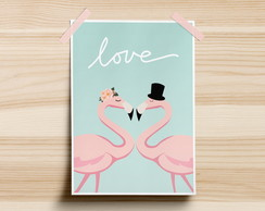 Poster Flamingos Love