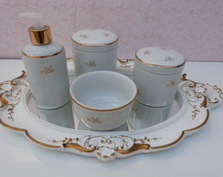 Kit higiene porcelana filete dourado
