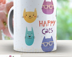 Caneca Happy Cats - Gatos Cute - 561