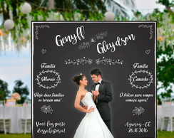 Painel casamento Chalkboard Floral 02