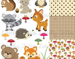 Kit Scrapbook Digital Animais do Bosque