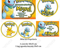 mini kit papelaria digital pokémon