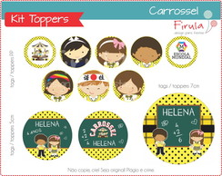 Kit Digital Toppers / Tags Carrossel