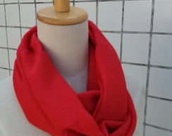 Cachecol Infinito Gola Crepe Indiano red