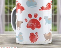Caneca Love Cat´s - Gato Cute 964
