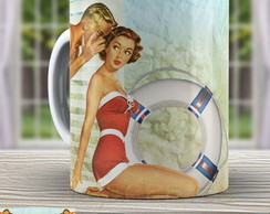 Caneca Pin Up - Xicara Vintage 965 Retro