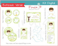 Kit Festa Digital Batizado Verde