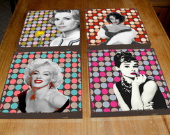 Kit 4 Quadros Tela MDF Divas Pop