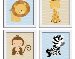 Quadro Infantil - KIT Safari - c/Moldura
