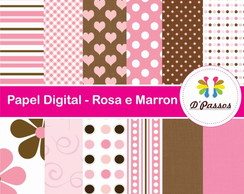 Kit 12 Papel Digital- Rosa e Marron