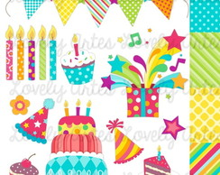 Kit Scrapbook Digital Happy Birthday