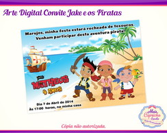 Arte Convite Digital Jake e os Piratas