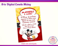 Arte Convite Digital Mickey Mouse