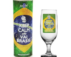 Taça Decorada Keep Calm And Vai Brasil