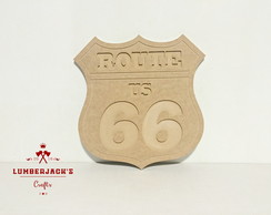 Placa decorativa Route 66 MDF cru