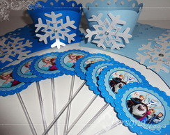 Kit Wrapper + topper p/ cupcake Frozen