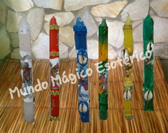 kit com 10 velas decoradas de orixás