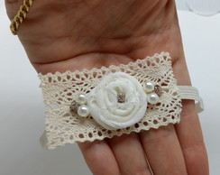 Headband shabby chic off white