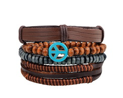 Combo Pulseiras Masculina Peace and Love