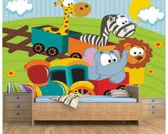 Papel Parede Infantil Zoo Safari 6m²-58