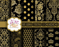 Kit Papel Digital preto e dourado n°1