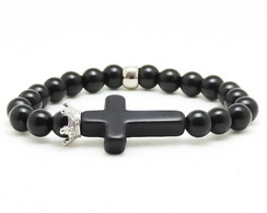 Pulseira Cross Crown Black