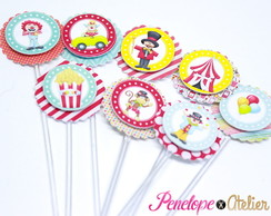 Mini Topper para doces Tema Circo