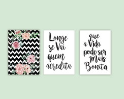 Arte Digital para Download Frases e Flores Chevron