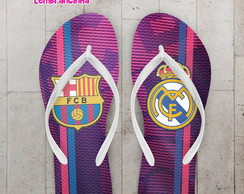 Chinelo Futebol Barcelona e Real Madrid