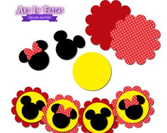 Kit Apliques Scrap - Mickey / Minnie 4cm