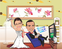 Caricatura Casal Game Over