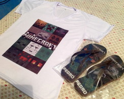 Kit Camiseta + Chinelo Minecraft
