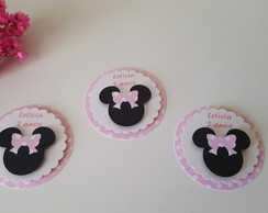 20 tags Minnie Rosa personalizado