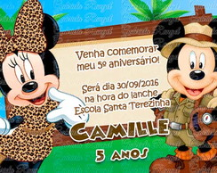 Convite Safari Minnie e Mickey