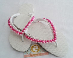 Chinelo Customizado Branco/Rosa Adulto