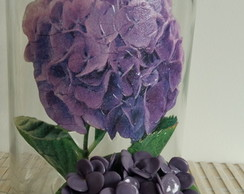 Pote decorado com biscuit hortensias