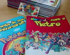Revista p/ colorir+ giz + solapa-Pokemon