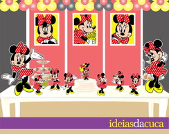 Kit Festa Totens Placa e Topo MDF Minnie