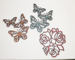 Chipboard - KIT Borboletas e Rosas