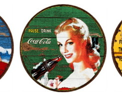 Kit 3 Placas Redondas Coca Cola