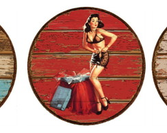 Kit 3 Placas Redondas Pin Ups