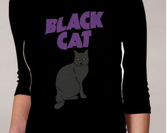 CAMISETA FEMININA 3/4 - BLACK CAT